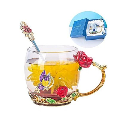 Enamels Butterfly flower Lead-free Glass Tea Cup Hand Made Coffee Mug with