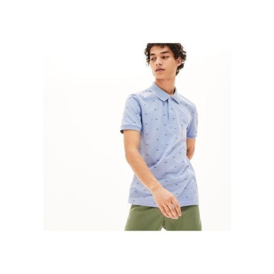 LACOSTE / スリムフィット ワニシルエット総柄デザインポロシャツ (半袖)
