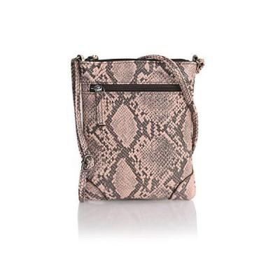 Snakeskin Mini Vegan Leather Crossbody Purse Small Adjustable Festival Shoulder Bag (Black and Blush Pink Snake Skin Bag)【並行輸入品