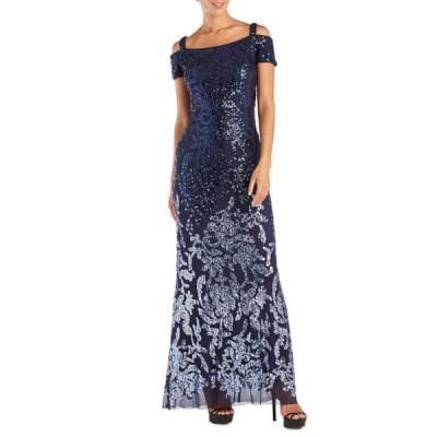 アールアンドエムリチャーズ レディース ワンピース トップス Petite One Piece Cold Shoulder Ombre Embellished Sequin Dress