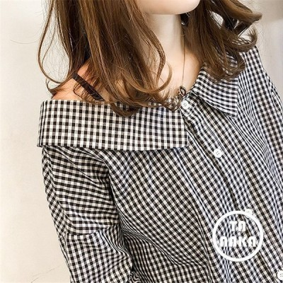 抜き襟でちらりと肌見せが今風ギンガムチェックシャツ海外韓国韓国ファッション韓国スタイルレディーストレンド春夏春夏
