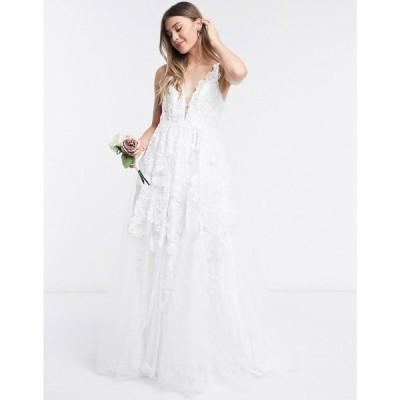 エイソス ASOS EDITION レディース パーティードレス ウェディングドレス ワンピース・ドレス Celia beaded floral embroidered mesh wedding dress アイボリー