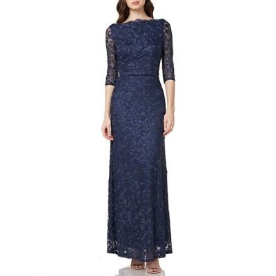 ジェイエスコレクションズ レディース ワンピース トップス Illusion Sleeve Embroidered Mesh Gown Navy
