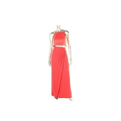 ドレス 女性  アクア アクア 0918 レディース ピンク ノースリーブ Cut-Out Faux Two-Piece Evening ドレス 6