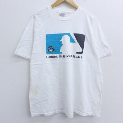 XL/古着 半袖 ビンテージ Tシャツ 90s ヘインズ Hanes MLB フロリダマーリンズ コットン クルーネック 白 ホワイト メジャーリーグ ベースボール 野球 【spe】 2
