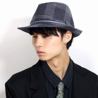 ツイード調 帽子 メンズ 中折れ帽子 ハット ルーベン 中折れハット レディース ハット リボン RUBEN uv 上品 チェック グレー