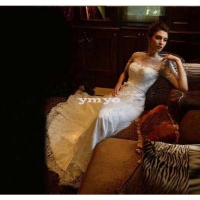 トレーンウエディングドレス 花嫁ブライド ドレス マーメイドドレス パーティードレス【結婚式】【披露宴】【パーティー】 エンパイアドレス フリル ドレス