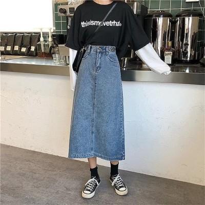 Wansmall レディース スカート sk0851 lever slit denim skirt
