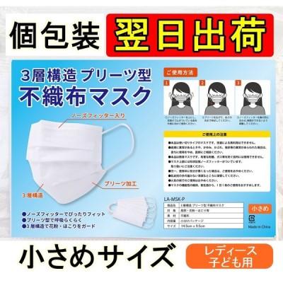 【翌日出荷】個包装 小さめサイズ10枚 日本語パッケージ レディース 女性用 子ども用 キッズ 子供 不織布マスク3層構造フィルター