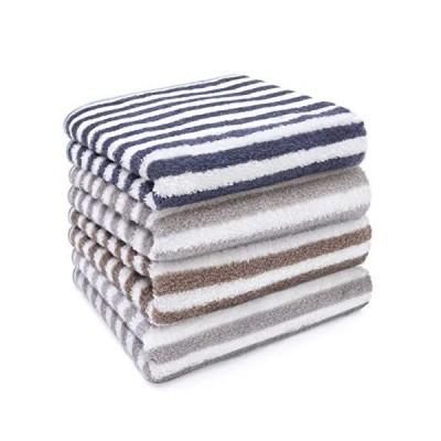 YUZ フェイスタオル 4枚セット 綿100% タオル ふわふわ 柔らかい 吸水速乾 毛羽レス 家庭用 業務用 スポーツ用 (ライトグレー×