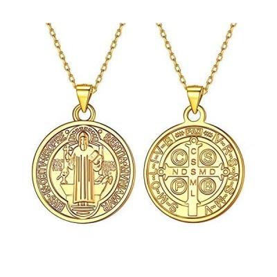 Silvora 聖ベネディクト メダイ クロス 十字架 ネックレス メンズ ゴールド k18金 コイン ペンダント レディース アレルギー対