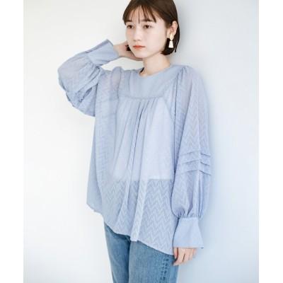 【ハコ】 気になるところは可愛げで隠そう!ほどよい透け感で普段に着やすいドビードットの女っぽブラウス レディース ライト ブルー M haco!