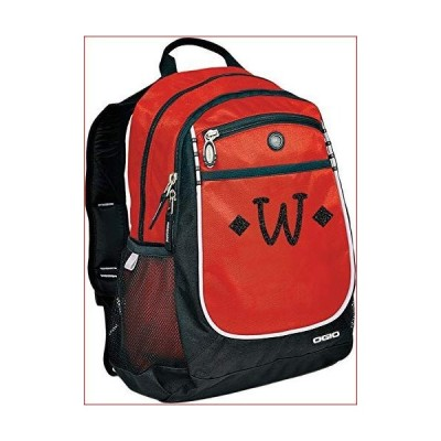 Monogrammed Me Carbon Backpack, Red, with Glitter Vinyl Kids Monogram W