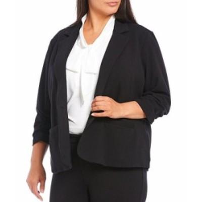 カルバンクライン レディース ジャケット・ブルゾン アウター Plus Size French Terry Knit Notch Lapel 3/4 Sleeve One Button Jacket B
