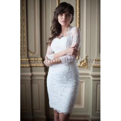 ウェディングドレス レースのラップと白いシースレースのウェディングブライダルドレスショートビーチの花嫁衣装  White Shea