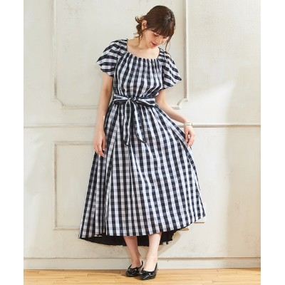 大きいサイズ スタクロ 綿100%ギンガムチェックマキシワンピース ,スマイルランド, ワンピース, plus size dress