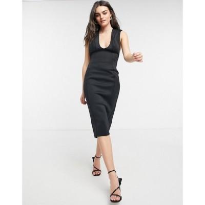 エイソス ASOS DESIGN レディース ワンピース タイト ミドル丈 ワンピース・ドレス shoulder pad plunge seamed pencil midi dress in black ブラック