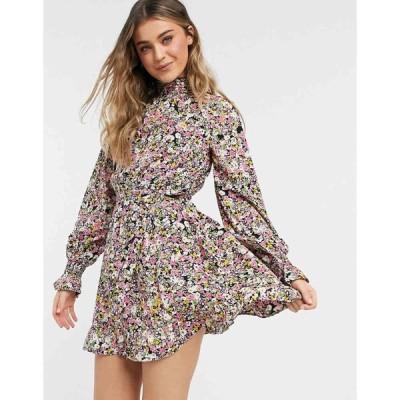 インフルエンス Influence レディース ワンピース ワンピース・ドレス High Neck Mini Dress With Tie Waist In Floral Print マルチカラー