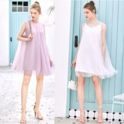 ミニドレス パーティードレス ミニ ドレス ワンピース  ノースリーブ プリーツ 透け感 小さいサイズ