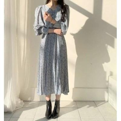 3色 花柄 ワンピース ロング プリーツ Vネック ハイウエスト フレア 長袖 大人可愛い フェミニン 韓国 オルチャン ファッション