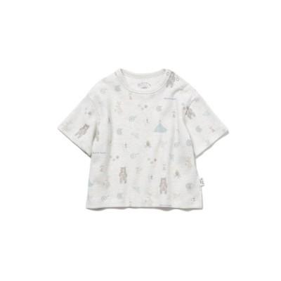 【ジェラートピケ】  アニマルキャンプモチーフ baby Tシャツ キッズ グレー 70 gelato pique