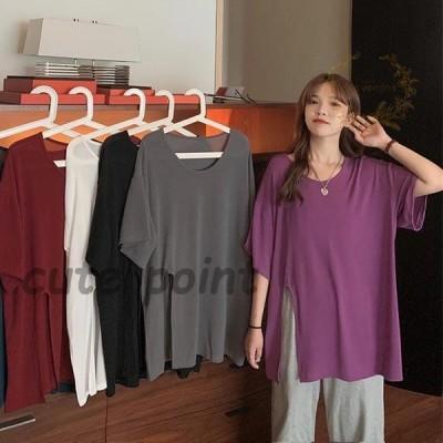 Tシャツ ゆったり レディース 半袖Tシャツ 夏物 5分丈袖Tシャツ 無地 サマーTシャツ ゆったりTシャツ クルーネック カットソー スリット入り
