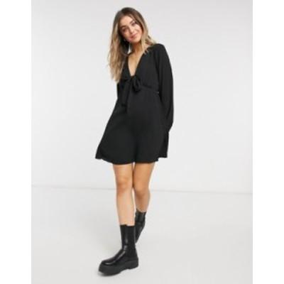 エイソス レディース ワンピース トップス ASOS DESIGN tie front mini tea dress with long sleeves in black Black