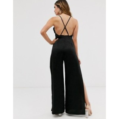 エイソス レディース ワンピース トップス ASOS DESIGN cami strap satin jumpsuit with wide leg and splits Black