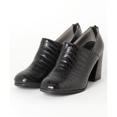 ブーツ 8cmチャンキーヒール スクエアトゥクロコショートブーティ