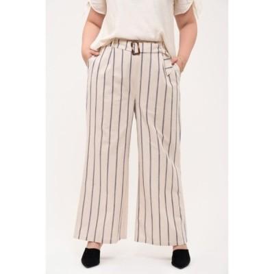 ブルーペッペーブルーペッパー レディース カジュアルパンツ ボトムス Stripe Wide Leg Pants (Plus Size) KAHKI/NAVY