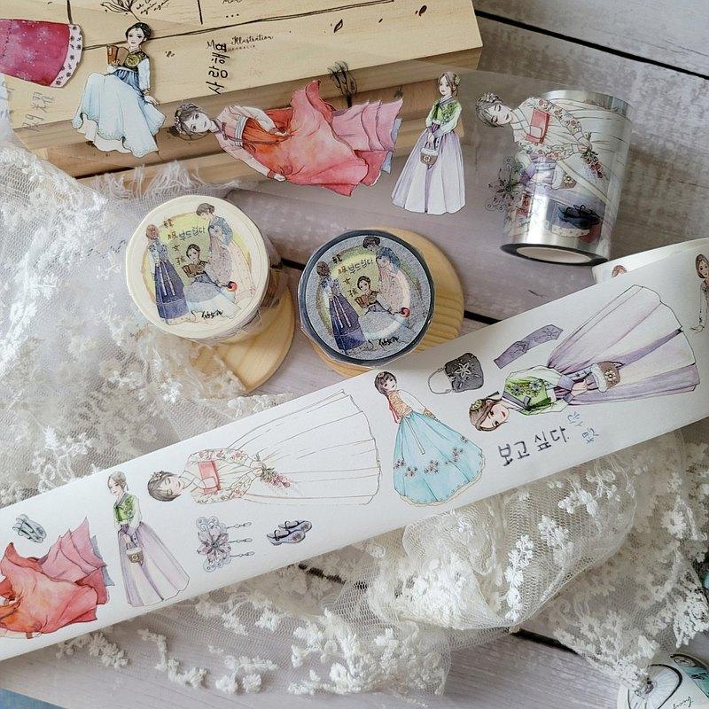 售完絕版   韓服女孩(日本和紙及亮面PET均有白墨)