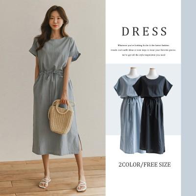 [韓国ファッション]リネンウエストゴムストリングワンピース