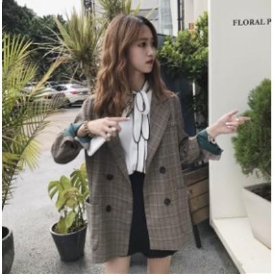 チェック柄 テーラードジャケット アウター レディース 韓国 オルチャン ファッション 春服 秋服 レディース オルチャン 韓国 風 レディ