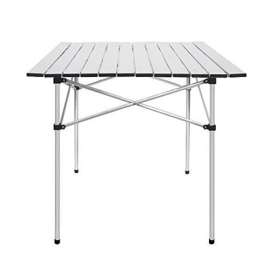 """HWZQHJY Folding Camping Table, Portable Aluminum Lightweight Folding Table for Outdoor Hiking Picnic,28"""" x 28"""" w/Carry Bag, Silver【並行"""