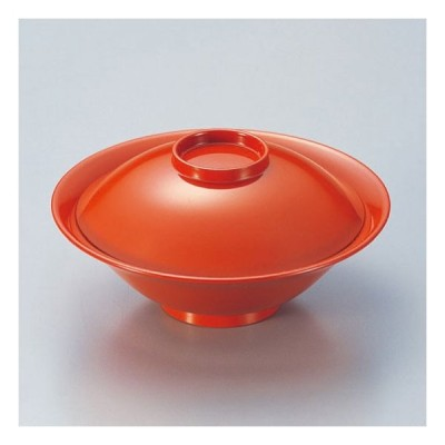 (業務用・蓋向・煮物碗)5.3寸平富士煮物椀 総洗朱 480cc(入数:5)