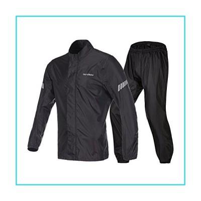 Motorcycle Rain Suit,Waterproof Fishing Hiking Golf Packaway Rain Coat,Hi Viz Reflective Bicycle Rain Jacket (Black, XX-L)【並行輸入品】