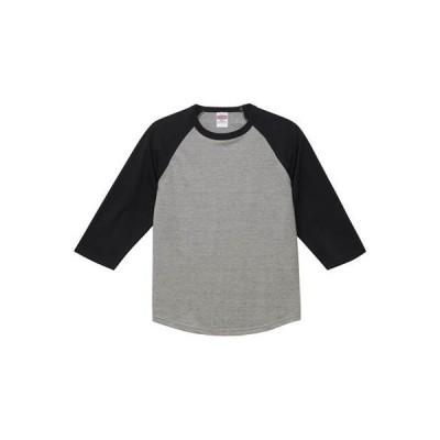 [ユナイテッド アスレ] 5.6ozラグラン3/4スリーブTシャツ メンズ 504501 ミックスグレー/ブラック 日本 L (日本サイズL相当)