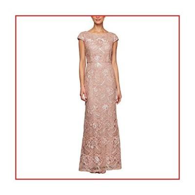 【新品】Alex Evenings Women's Long Sleeveless Fit and Flare Dress with V Neckline, Rose Gold, 14【並行輸入品】