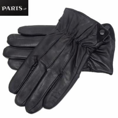 ◆手袋◆PARIS16e 羊革/シープスキン 黒 メンズ グローブ メール便可 LAM-N08-BK
