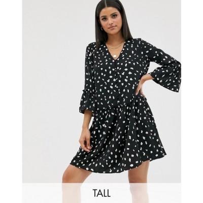 ヴェロモーダ Vero Moda Tall レディース ワンピース ワンピース・ドレス smock dress with fluted sleeve ブラック
