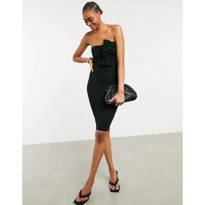 ガール イン マインド レディース ワンピース トップス Girl In Mind knot front strapless midi dress in black