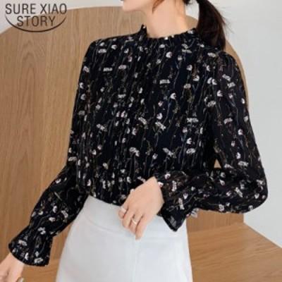 【送料無料】プリント 長袖 シフォンブラウス 透け感 韓国 ファッション トップス レディース かわいい Tシャツ