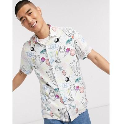エイソス ワークシャツ メンズ ASOS DESIGN regular fit shirt in doodle print エイソス ASOS ホワイト 白
