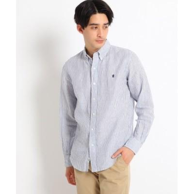 【デッサン】 Gymphlex リネンボタンダウンシャツ メンズ ブルー 02(M) Dessin