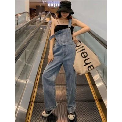 サロペット オーバーオール つなぎ レディース ストレート デニム 人気 韓国 ファッション