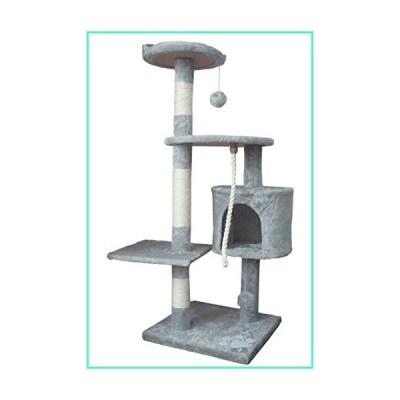 Ouzen Gray Cat Climbing Tree Tower Scratcher Furniture with Scratching Post and Toys for Cat並行輸入品