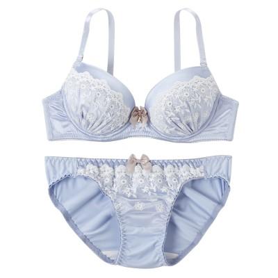 ペールサテン×フラワーレース ブラジャー・ショーツセット(C70/M) (ブラジャー&ショーツセット)Bras & Panties