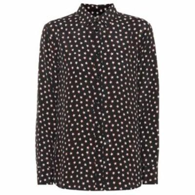 イヴ サンローラン Saint Laurent レディース ブラウス・シャツ トップス Printed silk blouse Noir Rouge Craie