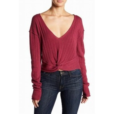 Free People フリーピープル ファッション トップス Free People Womens Knit Knotted Purple Size Small S V-Neck Sweater