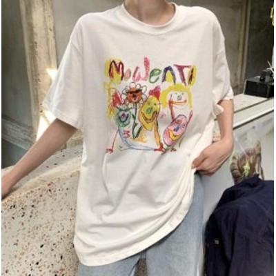 【取り寄せ】 レディース トップス 春夏 Tシャツ 半袖 ラウンドネック 英字ロゴ 個性的 派手かわ 原宿系 韓国ファッション コットン 綿